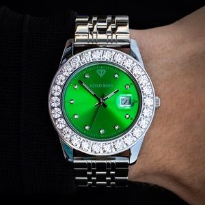 NEW IN BOX Polished SS Watch with Green CZ Bezel